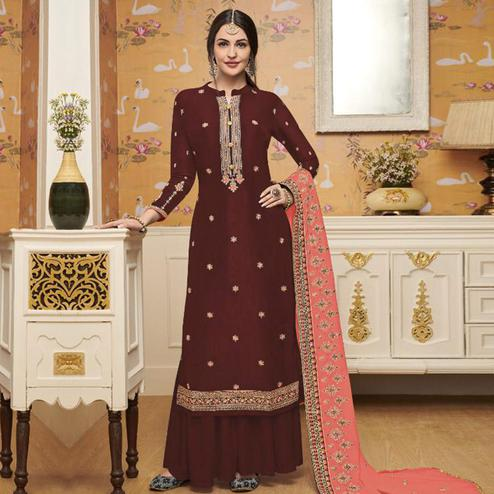 Mesmerising Maroon Colored Partywear Embroidered Crepe Palazzo Suit