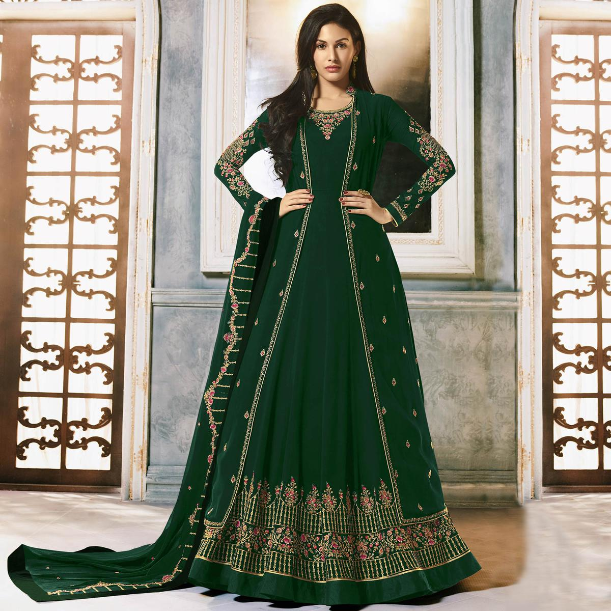 Ethnic Green Colored Partywear Embroidered Faux Georgette Jacket Style Anarkali Suit