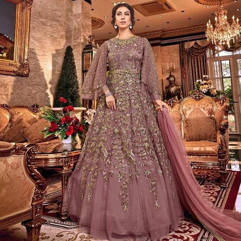 Adorable Pink Colored Partywear Embroidered Soft Net Abaya Style Anarkali Suit
