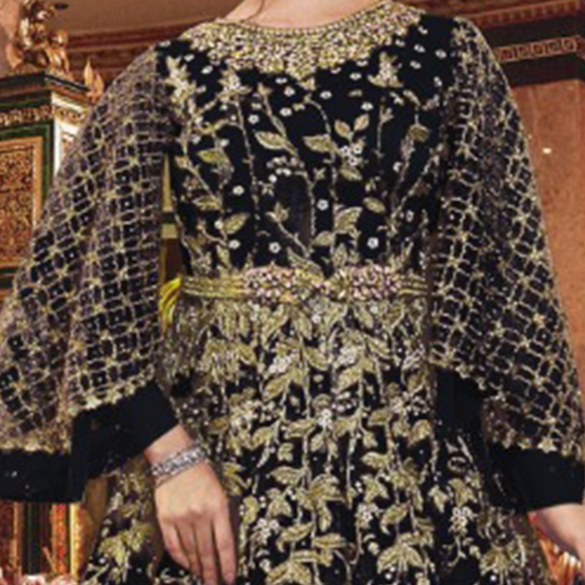 Glorious Black Colored Partywear Embroidered Soft Net Abaya Style Anarkali Suit