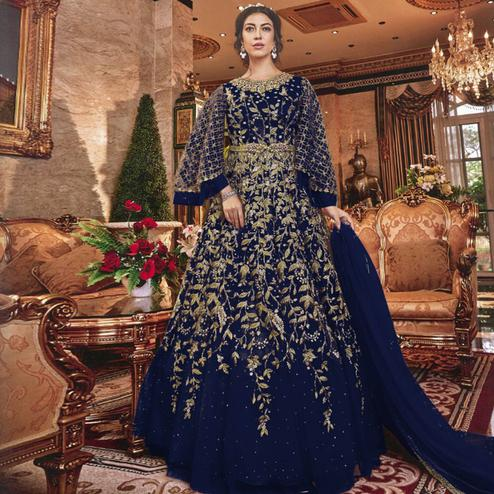 Attractive Blue Colored Partywear Embroidered Soft Net Abaya Style Anarkali Suit