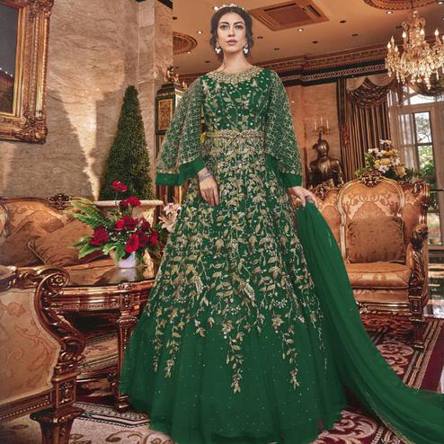 Beautiful Green Colored Partywear Embroidered Soft Net Abaya Style Anarkali Suit