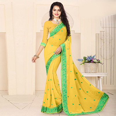 Beautiful Yellow Embroidered Georgette Saree