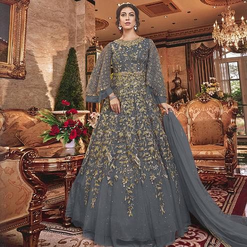 Graceful Grey Colored Partywear Embroidered Soft Net Abaya Style Anarkali Suit