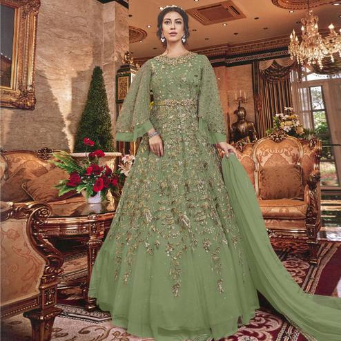 Blooming Menendi Green Colored Partywear Embroidered Soft Net Abaya Style Anarkali Suit