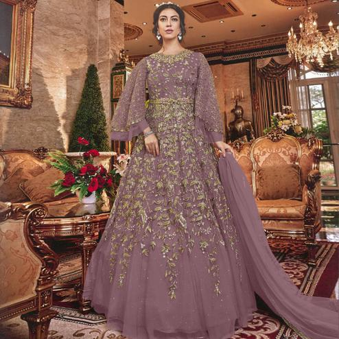 Charming Purple Colored Partywear Embroidered Soft Net Abaya Style Anarkali Suit