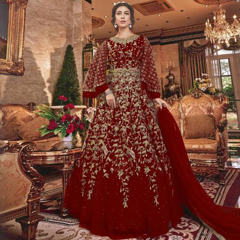 Jazzy Red Colored Partywear Embroidered Soft Net Abaya Style Anarkali Suit