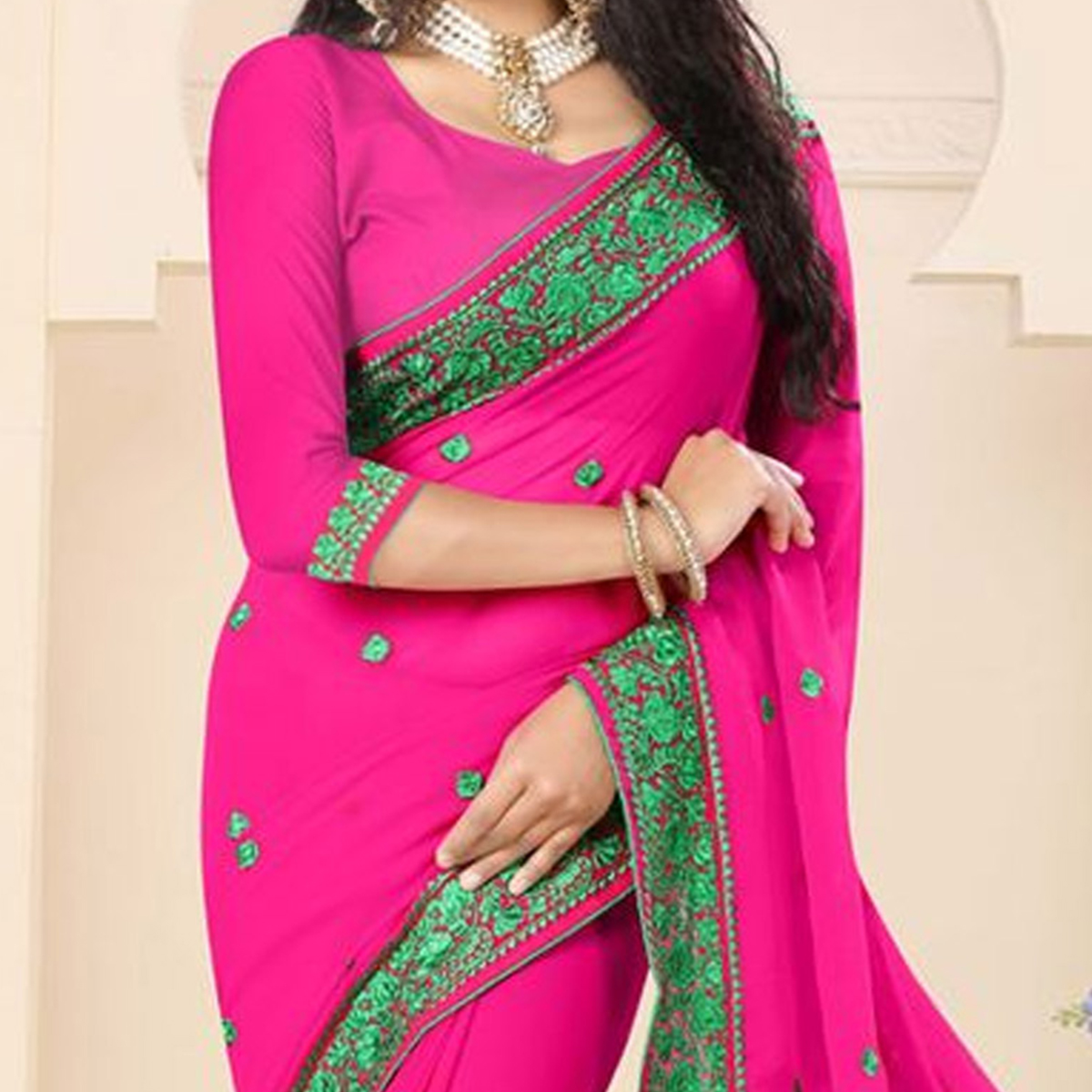 Hot Pink Embroidered Georgette Saree