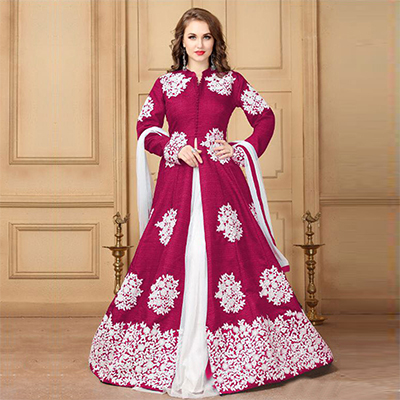 Beautiful Pink Designer Embroidered Khadi Silk Anarkali Suit