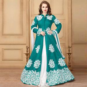 Gorgeous Green Designer Embroidered Khadi Silk Anarkali Suit