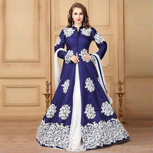 Royal Blue Designer Embroidered Khadi Silk Anarkali Suit