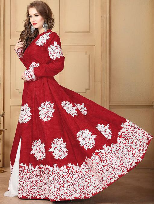 Lipstick Red Designer Embroidered Khadi Silk Anarkali Suit