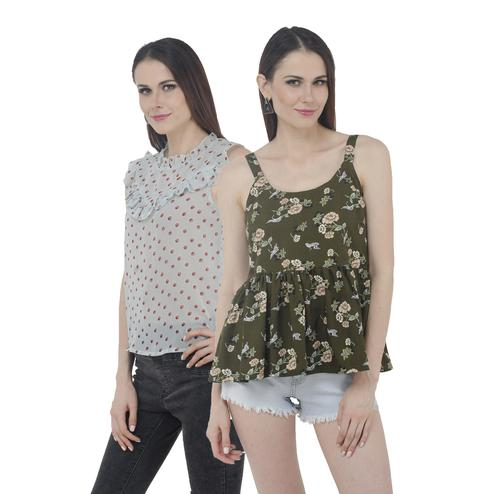 Mozoi - Green And Blue Colored Casual Wear Printed Polyester Georgette Top - Set Of 2