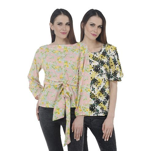Mozoi - Pink And Yellow Colored Casual Wear Printed Polyester Top - Set Of 2