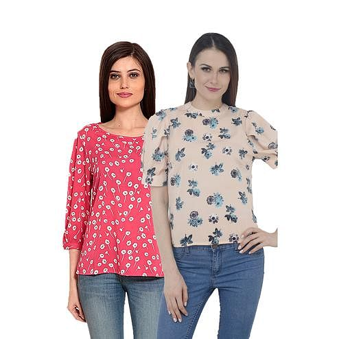 Mozoi - Pink And Baby Pink Colored Casual Wear Floral Printed Polyester Top - Set Of 2