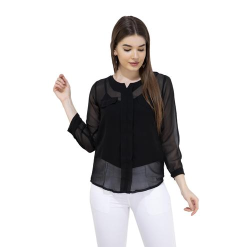 Mozoi - Black Colored Casual Wear Pocket Style Georgette Top