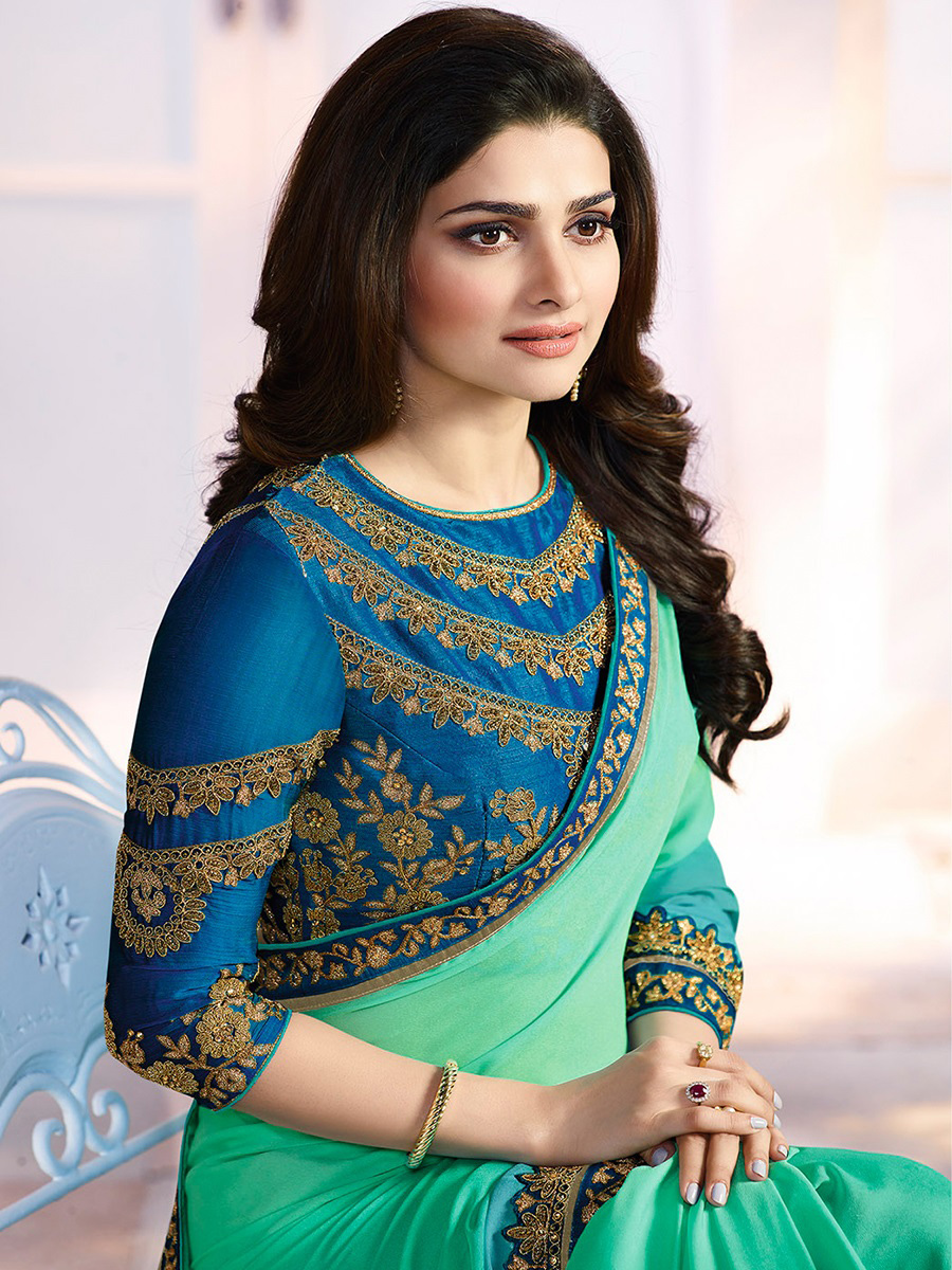 Classy Green-Sky Blue Georgette Embroidered Designer Partywear Saree