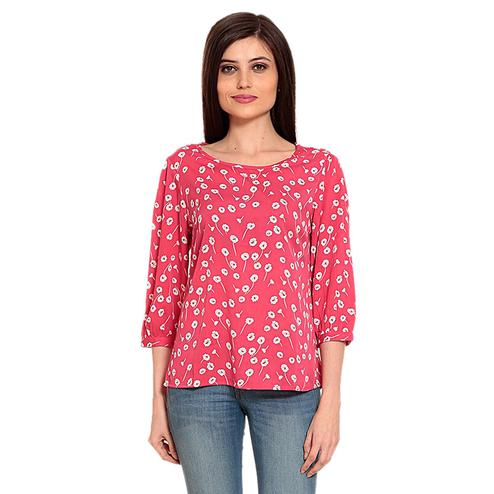 Mozoi - Pink Colored Casual Wear Floral Printed Polyester Top
