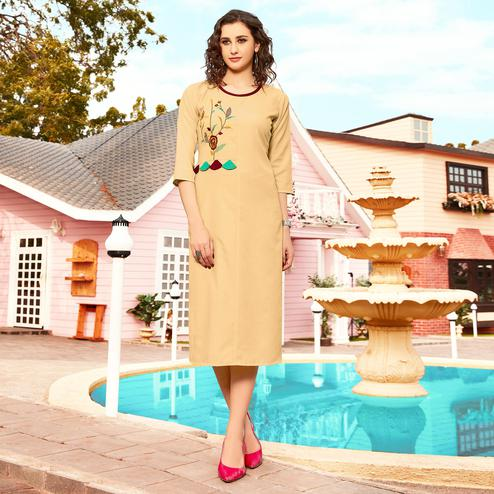 Appealing Beige Colored Casual Wear Floral Embroidered Swiss Cotton Slub Kurti