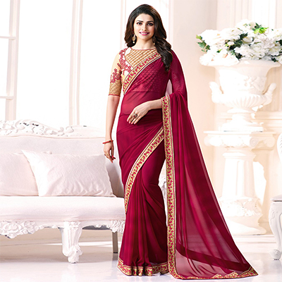 Marvellous Rani Pink Georgette Embroidered Designer Partywear Saree