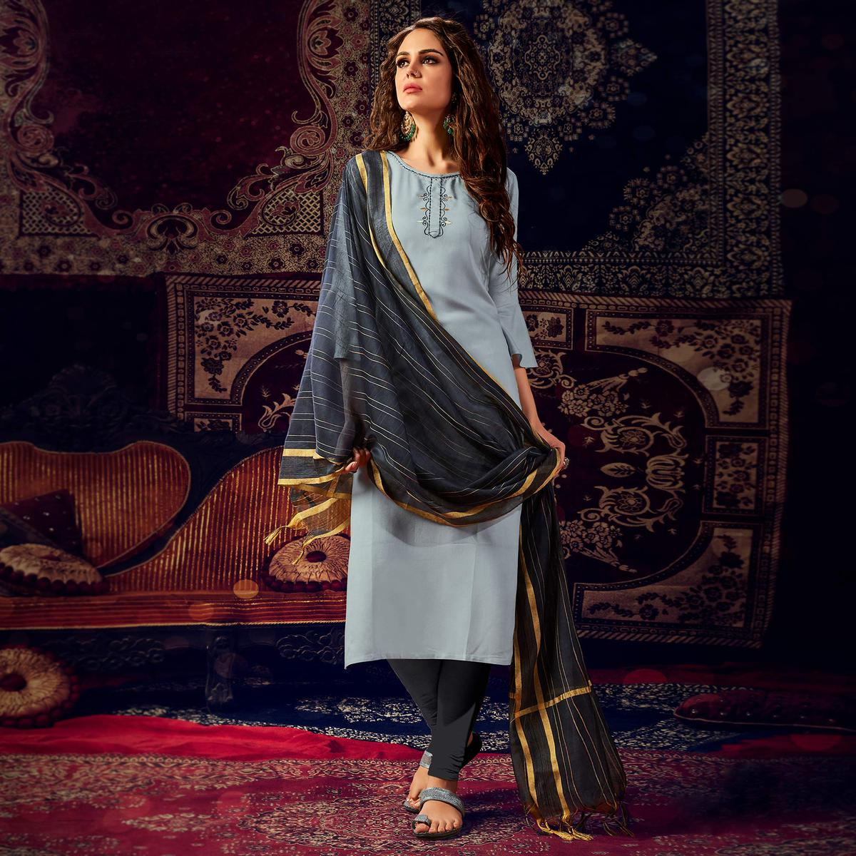 Demanding Grey Colored Casual Wear Hand Embroidered Heavy Rayon Kurti With Dupatta