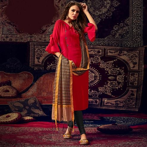 Refreshing Red Colored Casual Wear Hand Embroidered Heavy Rayon Kurti With Dupatta