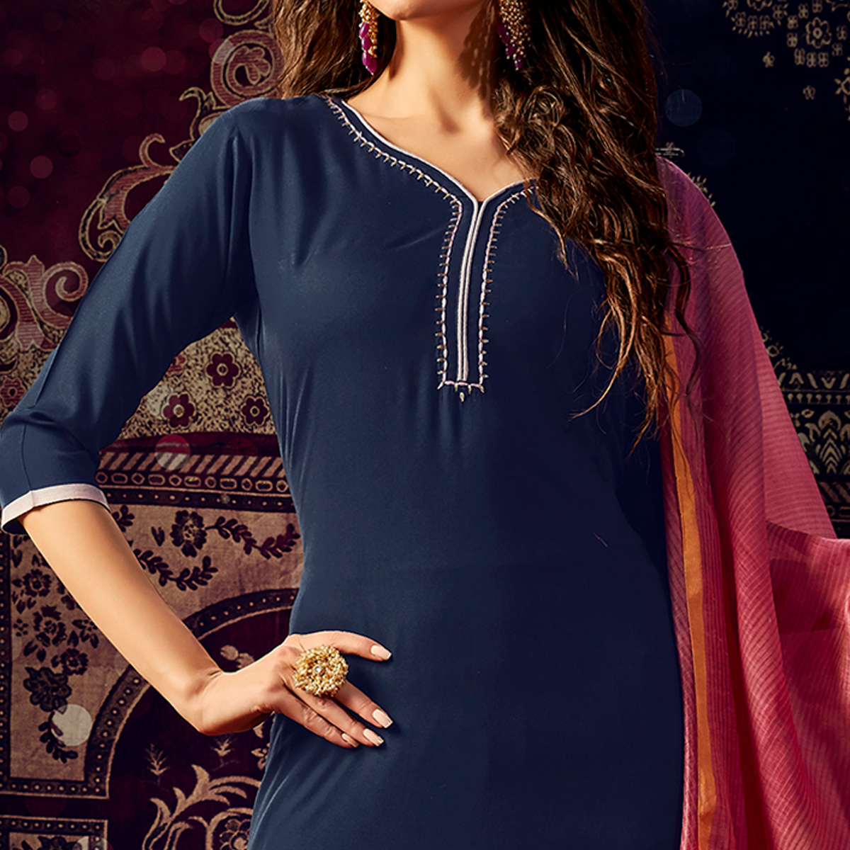 Magnetic Navy Blue Colored Casual Wear Hand Embroidered Heavy Rayon Kurti With Dupatta