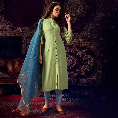 Hypnotic Parrot Green Colored Casual Wear Hand Embroidered Heavy Rayon Kurti With Dupatta
