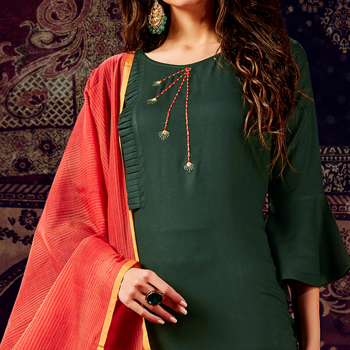 Flattering Green Colored Casual Wear Hand Embroidered Heavy Rayon Kurti With Dupatta