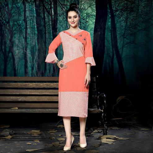 Gorgeous Orange Colored Casual Wear Handloom Stripe Printed Linen Cotton Kurti