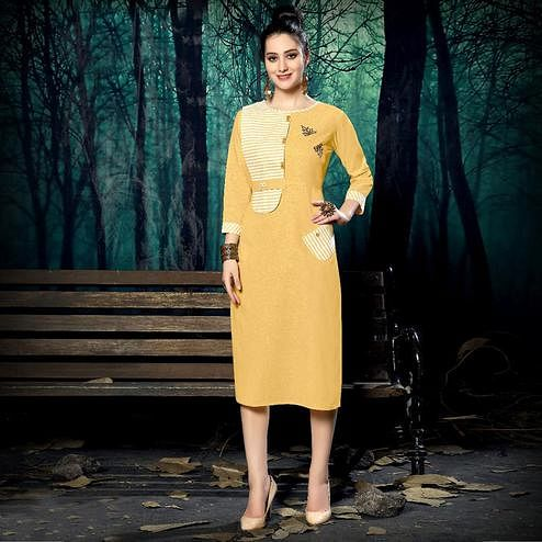 Blissful Yellow Colored Casual Wear Handloom Stripe Printed Linen Cotton Kurti