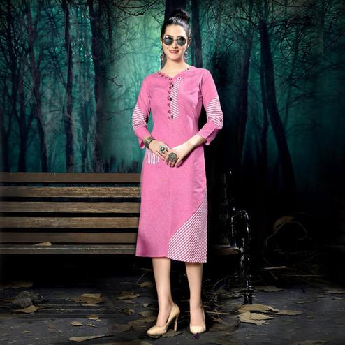 Ideal Pink Colored Casual Wear Handloom Stripe Printed Linen Cotton Kurti