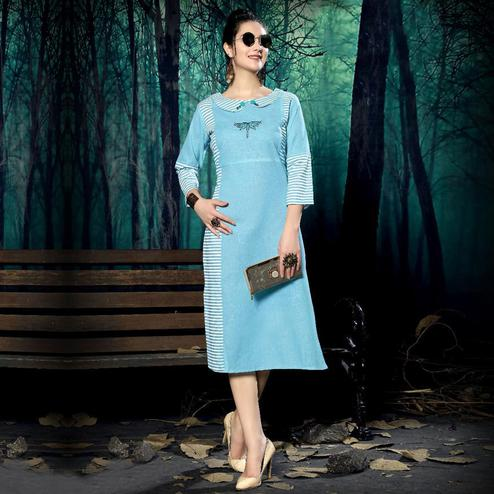 Lovely Blue Colored Casual Wear Handloom Stripe Printed Linen Cotton Kurti