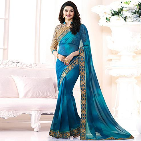 Gorgeous Blue Georgette Embroidered Designer Partywear Saree
