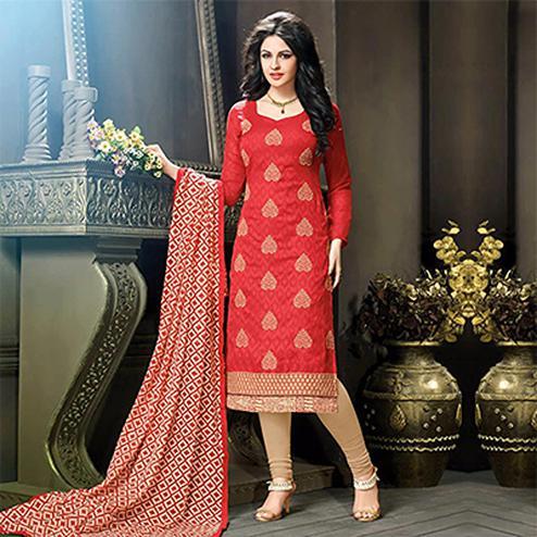 Red - Beige Embroidered Work Salwar Suit