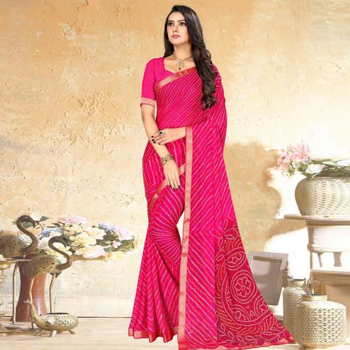 Beautiful Pink Colored Party Wear Bandhani Printed Chiffon Saree
