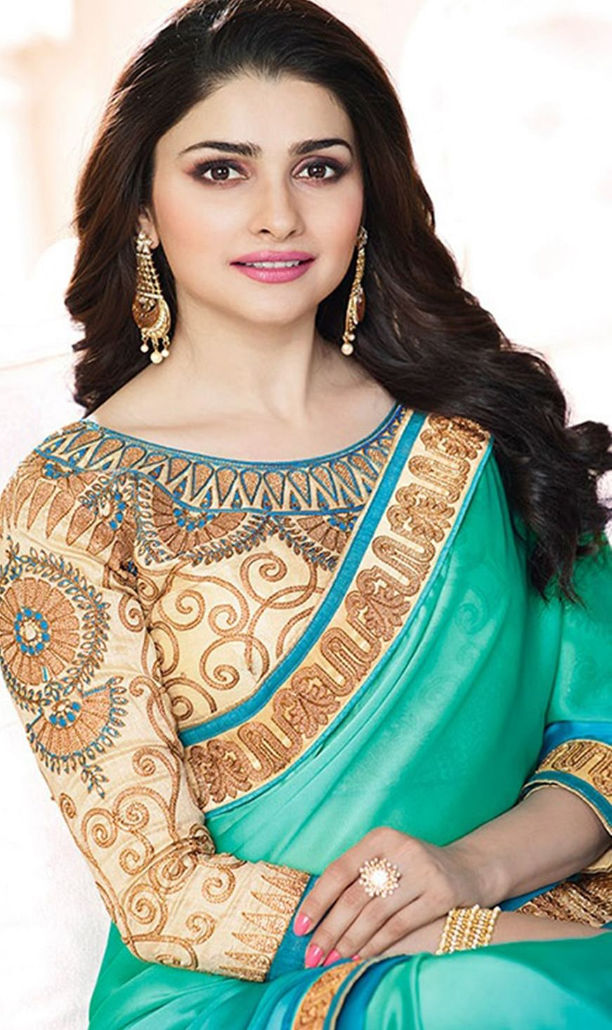 Lovely Green Georgette Embroidered Designer Partywear Saree