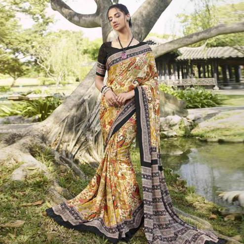 Delightful Beige Colored Casual Wear Printed Crepe Saree