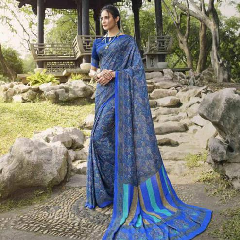 Engrossing Blue Colored Casual Wear Printed Crepe Saree