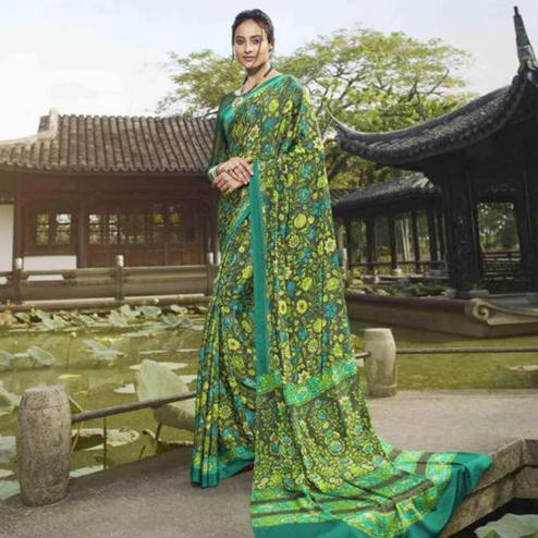 Captivating Green Colored Casual Wear Printed Crepe Saree
