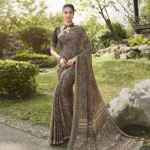 Innovative Brown Colored Casual Wear Printed Crepe Saree