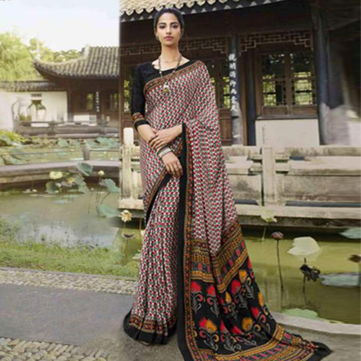 Amazing White-Maroon Colored Casual Wear Printed Crepe Saree