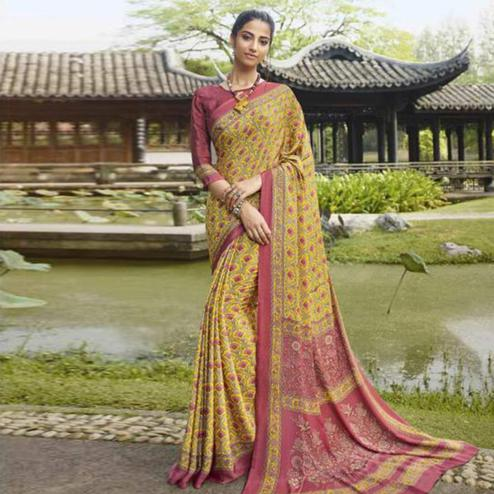 Gorgeous Yellow Colored Casual Wear Printed Crepe Saree