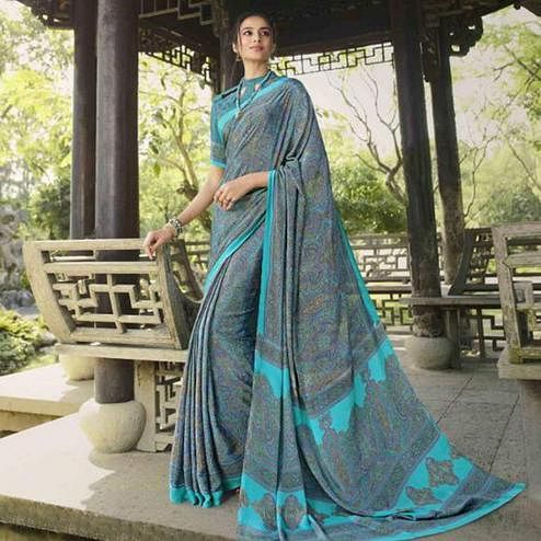 Blissful Blue Colored Casual Wear Printed Crepe Saree