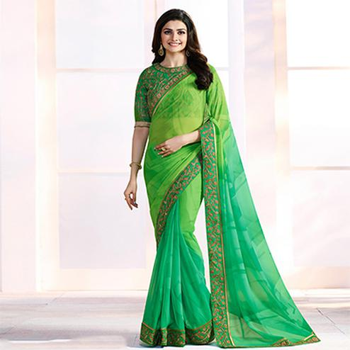 Adorable Green Georgette Embroidered Designer Partywear Saree