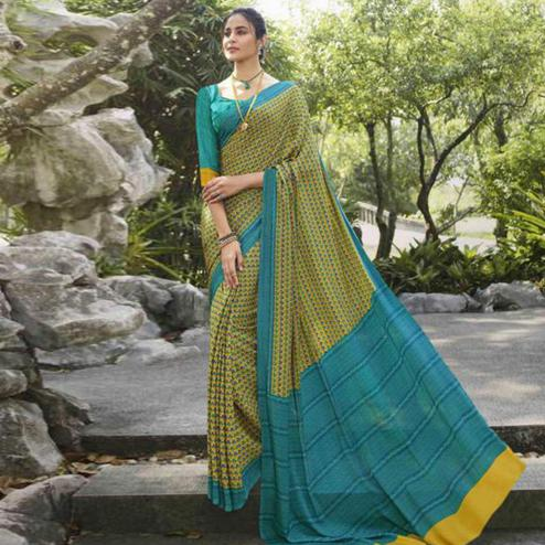 Majesty Green Colored Casual Wear Printed Crepe Saree