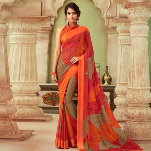 Intricate Orange-Brown Colored Casual Wear Printed Chiffon Saree