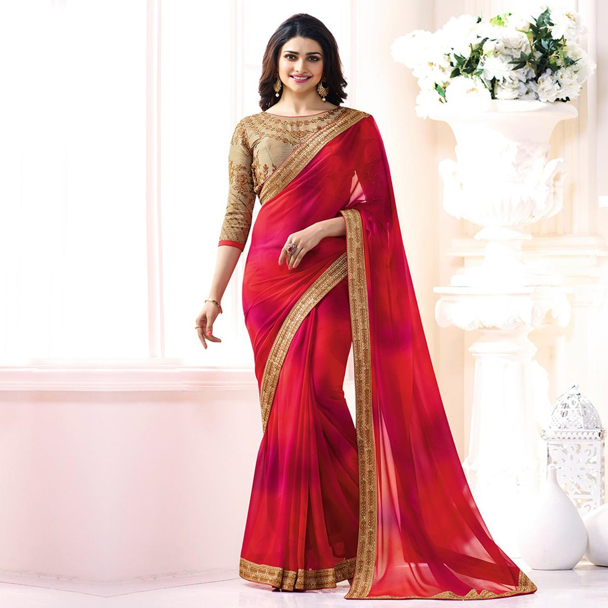 Beautiful Red Georgette Embroidered Designer Partywear Saree
