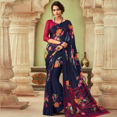 Exotic Blue Colored Casual Wear Floral Printed Chiffon Saree