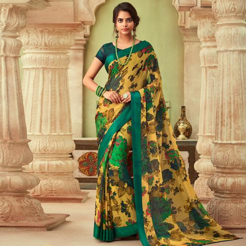 Trendy Beige-Green Colored Casual Wear Floral Printed Chiffon Saree